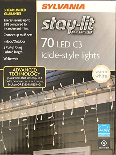 SYLVANIA Stay-lit Platinum Indoor/Outdoor Christmas Light (70 LED C3 Icicle-Style Lights Warm White)