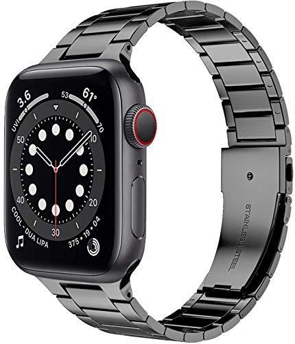 Miimall Correa de Reloj Compatible con Apple Watch Serie 6/SE/5/4/3/2/1 44mm 42mm, Metal de Acero Inoxidable Correa de Repuesto Ajustable Pulsera de Repuesto para Apple Watch 44mm 42mm - Gris
