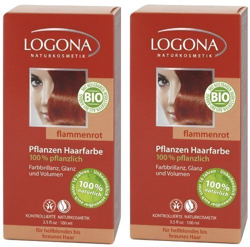Ideenmanufaktur Logona Henna Haarfarbe Pflanzenhaarfarbe flammenrot im Doppelpack 2 x 100 g