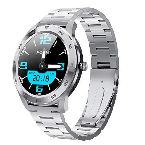 Cuasting For Women Men Smart Watch DT98 1.3Inch IP68 Waterproof Full Press Screen Sport Smartwatch Fitness Bracelet(Silver Strap)