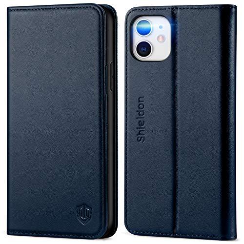 SHIELDON iPhone 11 Hülle, Stoßfeste Handyhülle [Echtes Rindsleder] [RFID Schützt], TPU Schutzhülle Kartenfach Magnetverschluss Standfunktion, Handytasche Cover Kompatibel für iPhone 11 6,1 Marineblau