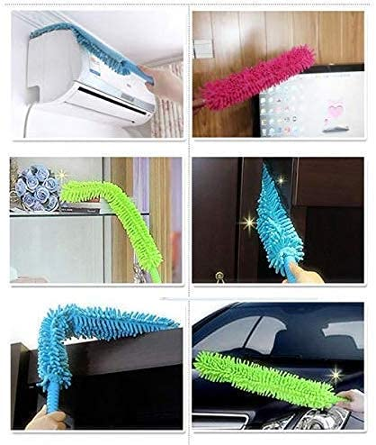 OKRA ZEX with device of OZ adjustable microfiber fan dust cleaning brush mop with handle and long rod cleaning (Multicolour)