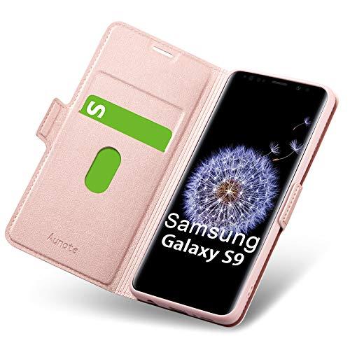 Coque Samsung Galaxy S9, Housse Samsung S9, Etui Samsung S9, Coque de Protection Samsung S9, Rabat/Clapet en Cuir PU Portefeuille Livre, Emplacement Carte, Support, Flip/Folio S9 Phone Case. Or Rose