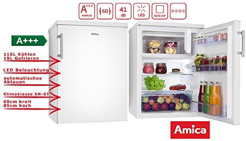 Amica KS 15915 W koelkast met vriesvak vrijstaand wit 135 l A+++ - koelkast met vriesvak (vrijstaand, wit, rechts, glas, 135 l, SN-ST)