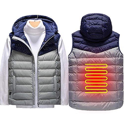 Camicia riscaldata USB Grigia per uomo/Donna, biancheria Intima riscaldata USB lavabile leggera con 5 Zone di riscaldamento e Temperatura a 3 livelli , Gilet riscaldato da Moto XXXL per Vi