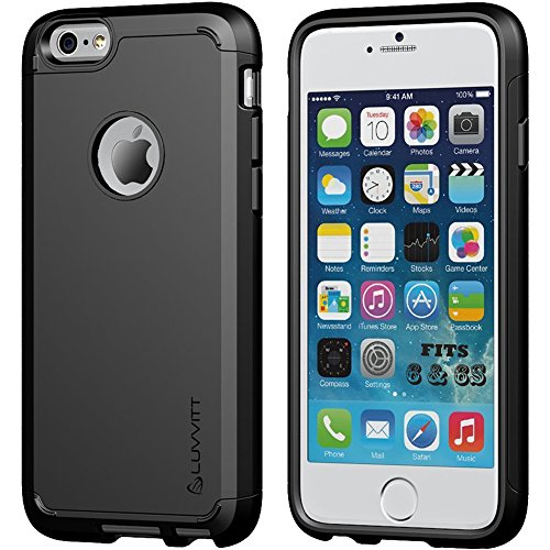 LUVVITT [Ultra Armor] Shock Absorbing Case Best Heavy Duty Dual Layer Tough Cover for Apple iPhone 6 / iPhone 6s (4.7) - Black
