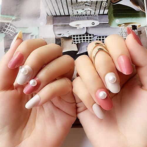 zjpvip218 Mode Rosa Reis Perle Sprungfarbe Einfarbig Runder Kopf Falscher Nagel Fertig Tragen Nagel Patch 24 Stück Boxed