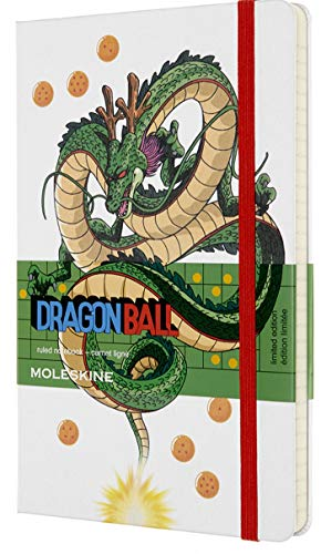 Moleskine - Dragonball Notizbuch Limited Edition - Liniertes Notizbuch - Motiv Drache - Hardcover mit Thematischen Abbildungen und Details - Größe 13 x 21 cm, Farbe Weiß, 240 Seiten