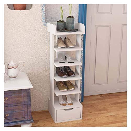 lcy Zapatos de Madera Exhibidor Blanco 6 Niveles Zapatero Organizador Pasillo de Almacenamiento Soporte Adecuado for Espacios pequeños (11' x 11' x 37') (Size : 1)