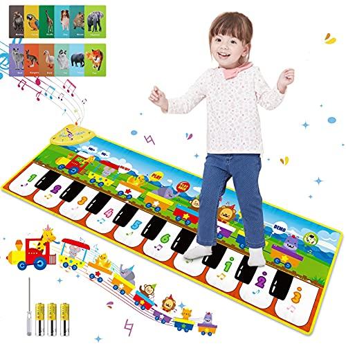 Innedu Alfombra de Piano, Alfombra Musical de Teclado con 8 Sonidos de Animales & 3 Sonidos de Instrumentos, Tapete de Piano Baile para Niños Niñas, 110 x 36 cm