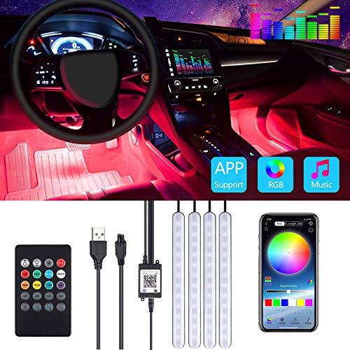 Auto Led Innenbeleuchtung SUPCHON 48 Leds RGB Autozubehör Innenraum Strips 4pcs 6.2 Meter mit Bluetooth App LED Ambientebeleuchtung Auto Strip USB Port und Musik Steuerbar LED Strip Atmosphäre Licht