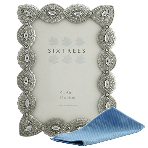 Sixtrees, cornice porta foto, elegante cornice portafoto in metallo con perle e cristalli, effetto anticato, stile vintage e shabby chic; compreso di panno in microfibra per la pulizia, metallo, Silver, 6'x4' Cecilia