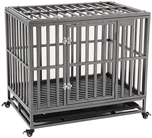 KELIXU 38' Heavy Duty Dog Crate Large Dog Cage Metal Dog Kennels and Crates for Large Dogs Indoor Outdoor with Double Doors, Locks, Lockable Wheels and Removable Tray, Black