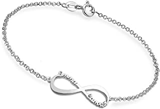 Ouslier Personalized 925 Sterling Silver Infinity Symbol Name Bracelet Custom Made with 2 Names