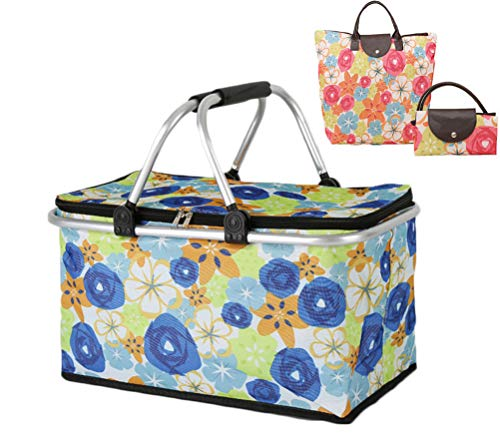 Cocobuy Collapsible Insulated Picnic Bag Grocery Shopping Basket Market Tote Carry Basket Folding Bag Basket for Family, Vacations, Parties, Travel, Party, Beach, Picnics,Everyday Meal (Blue)