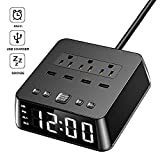 Dual Alarm Clock with USB Charger,Alarm Clock Charging Station Dock with 3 AC Outlets & 4 USB Ports Surge Protector, 6ft Extension Cord, USB Bedside Alarm Clock for Bedrooms Home Dorm Hotel,UL Listed