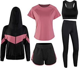 Mallimoda Women's 5pcs Sport Suits Yoga Athletic Clothing Set Jogging Tracksuits