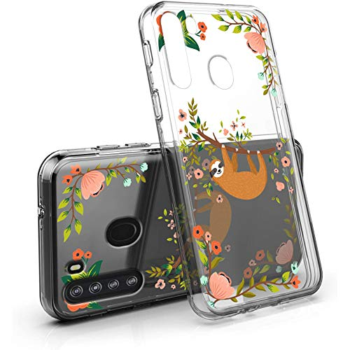 Galaxy A21 Case Clear Cute Sloth Design for Girls Women, Amook Shockproof Hybrid Dual Layer PC+TPU Bumper Floral Arboreal Animal Cover Transparent Protective Case for Samsung Galaxy A21 2020