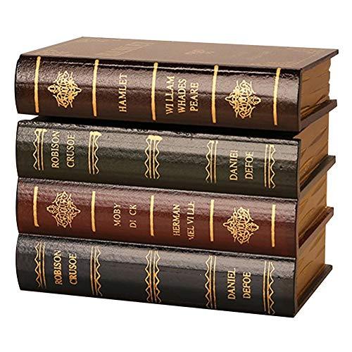 dewdropy Falsches BuchBox Vintage Aufbewahrung Requisiten Buch Verpackung Studie Buch Falsches Buch Dekoration Ornamente Aus Holz Antikes Buch Wie Buchstützen