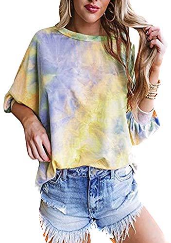 EFOFEI Damen Vibrant Color Tie Dye T-Shirt All-Match Shirt Plus Size Tops Gelb 2XL