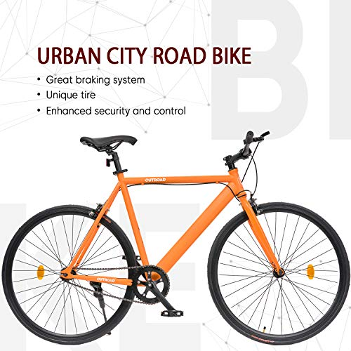 Outroad Urban City Road Bike Single-Speed Commuter Bicycle Fixie Track Bike with 700 x 25C Tire, Orange