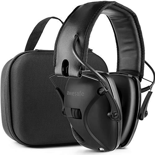 Awesafe - Protección auditiva para disparar, protección auditiva electrónica, orejeras de seguridad para tiradores y caza (con bolsa de viaje) - (negro)
