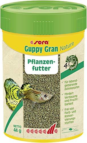 Sera Guppy Gran Alimento de Plantas o pienso Vegetal para Peces, granulado Blando de Lento hundimiento para Guppy, Espada, Platy, Molly y pez Mariposa