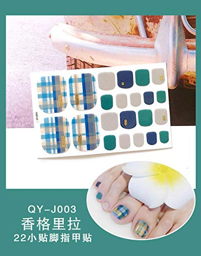 BGPOM Foot Stickers Nail Stickers Nail Stickers Fully Waterproof Lasting 3D Toenail Stickers Patch 10 Sheets/Set,Shangri-La (QY-J003)