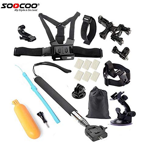 SOOCOO Action Camera Accessories Kit Set for Campark AKASO Crosstour DBPOWER FITFORT EKEN APEMAN ODRVM DROGRACE S100 Pro C30 Underwater Sports Camera Go Pro Hero Swimming Outdoor Sports (2)
