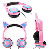 DURAGADGET Pink Cat Children's Headphones (w/Blue LED Ears) - Compatible with Fuhu Nabi & Nabi 2 Kids Tablet
