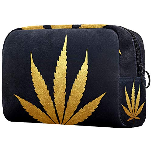 Bolsa de cosméticos para mujer, diseño de hojas de marihuana doradas, bolsas de maquillaje, accesorios organizadores regalos