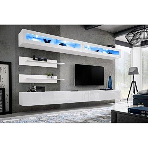 Paris Prix - Meuble TV Mural Design Fly VII 320cm Blanc