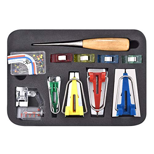 Kit de cinta de bies, 6 mm/12 mm/18 mm/25 mm para encuadernar pies de manualidades, punzón DIY para coser cinta de sesgo para coser