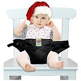 Der waschbare tragbare Reise Hochstuhl Booster Babysitz mit Riemen Kleinkind -Sicherheitsgurt Schätzchenspeicherung den Gurt (6 Farben) (schwarz)