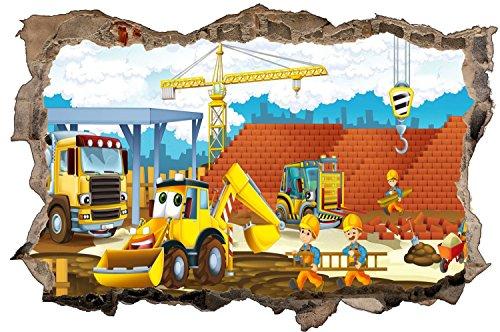 Bauarbeiter Baustelle Cartoon Kinder Wandtattoo Wandsticker Wandaufkleber D0874 Größe 70 cm x 110 cm