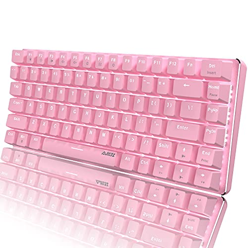 Pink Mechaincal Gaming Keyboard and Mouse Pad Combo Blue Switches USB Wired White Backlit Compact 82 Keys Anti-ghosting,Compatible with Windows PC Laptop Mac Game Office