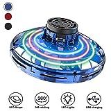 Abree Flying Toys para Adultos y niños con Carga USB Mini UFO Drone Spinner Manual con Luces LED RGB giratorias y Brillantes de 360 ° (Blue)