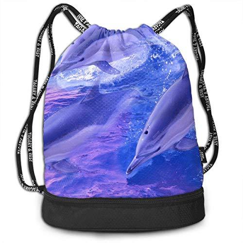Bolsa multifuncional unisex con cordón para exteriores, diseño de delfín, color rosa