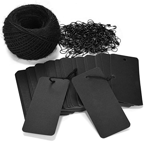 LOOMY 200 PCS Marking Tags with Safety Pins and 157 Feet Natural String to Label Clothes for Garage Yard Consignment Tag Black