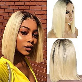 Brazilian Virgin Human Hair Lace Front Wigs 1B/613 Blonde Omber Color Glueless Short Bob Wigs Straight Middle Part 13x4 Lace Frontal Bleached Knots with Baby Hair Wigs 14inch for Black Women