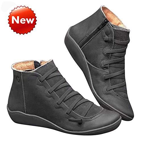 LeKing 2019 Nueva Ayuda de Arco Cargadores para Las Mujeres, Zapatos cómodos Plana Tobillo Botas de Las Mujeres, Las señoras Ocasionales Otoño Invierno Zapatos Botines