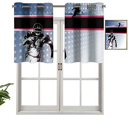 Hiiiman Cenefa de cortina con ojales de alta calidad, para jugar al fútbol americano corriendo en el campo con patrón de estrellas, juego de 1, 137 x 45 cm para decoración de interiores
