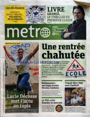 METRO [No 2046] du 01/09/2011 - LUCIE DECOSSE MET L
