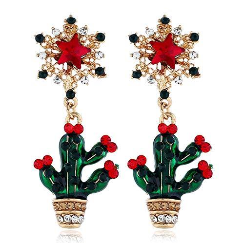N\A Women Dangle Drop Earrings Mini Cactus Plant Pendant Star Shape Earrings Earrings Statement Ear Jewellery