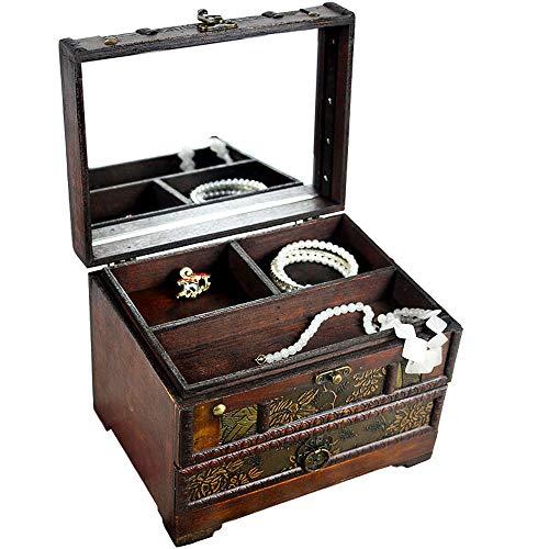 ジュエリーボックス アンティーク調 レトロ ミラー付き 木製 コスメボックス ジュエリーケース アクセサリー 化粧品 小物 収納 ケース 引き出し ブラウン