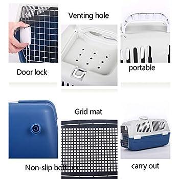 Chenils Cages Boîte pour Chien Cage pour Chat Cage de Chat Portable boîte pour Animaux de Compagnie Voiture boîte pour Animaux de Compagnie 7-15kg Cages (Color : Blue, Size : 60 * 39 * 35cm)
