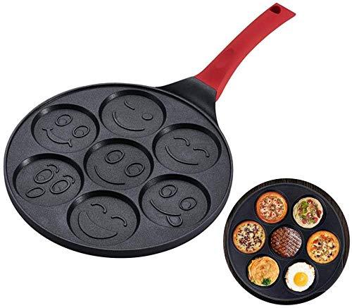 Sartenes Y Sartenes Pa FreíR Antiadherente Huevo Pancakes Blinis Muffin Pan Waffles Maker Para NiñOs (Animal)-Cara sonriente