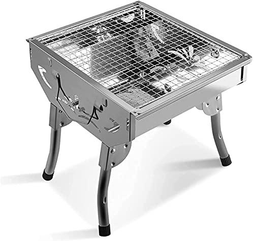 ROM Grillwerkzeug-Set Langlebiger BBQ-Grill, Edelstahl-Barbecue-Grill mit kariertem Eisengrill für Outdoor-Picknick Terrasse Hinterhof-Camping-Kochen für 1 bis 4 Personen