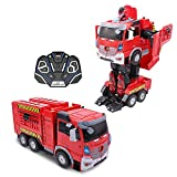 Family Smiles Kids Fire Truck RC Toy Transforming Robot Remote Control Car Vehicle Toys for Boys 8 - 12 Red
