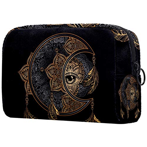 Große Make-up-Tasche Reißverschlusstasche Travel Cosmetic Organizer für Frauen und Mädchen - Boho Chic Golden Moon Sun Mandala Astrologie Magie